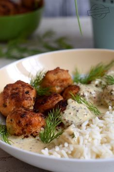 Klopsiki z kurczaka w sosie śmietanowo-musztardowym – Smaki na talerzu Risotto, Meat, Chicken, Ethnic Recipes, Food, Essen, Meals, Yemek, Eten