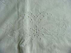 Pair Antique Pillowcases Cut Work & Embroidery c.1910 by chalcroft, $18.00