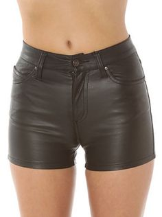 High wasted leather shorts