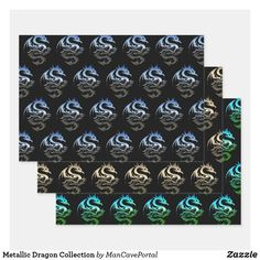 Metallic Dragon Collection Wrapping Paper Sheets Out Of The Closet, Gift Wrapping Paper, Print Wrap, Creative Gifts, Note Cards, Colorful Backgrounds, Party Favors, Party Supplies, Decoupage