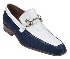 """Belvedere """"Luna"""" Navy / White All-Over Genuine Shark Loafer Shoes With Buckle"""