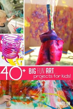 Make massive, involved, creative, and fun art projects for kids! we've collected of our favorite big art ideas to make it super simple to get started Cool Art Projects, Projects For Kids, Stem Projects, Craft Projects, Art Journal Pages, Smash Book, Toddler Preschool, Toddler Activities, Preschool Art