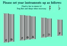 This SMART notebook document allows you to show your students which bars to remove from their xylophones, metallophones, and glockenspiels with just a few simple clicks.  It also includes a list of typical Orff instruments which serves as a guide for how to set up rehearsals.  This way, the students will know exactly what's needed and what's not, and they can set up without asking repeatedly for instructions, and therefore can be more effective and efficient!