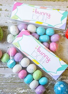 Easter bunny bait free printable! Can be filled with any treat. SO cute for a kids easter egg hunt party favor or to give as little gifts!