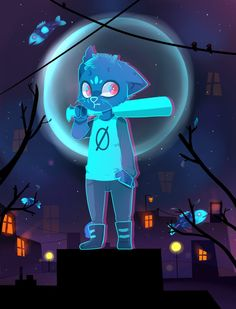 I adore Night in the Woods so much The nightmare color pallet is literally so pretty I had to draw something in it You can buy this as a sticker on redb. Mae Borowski, Night In The Wood, Dark Thoughts, Little Games, Games Images, Furry Art, Wood Art, Illustrations Posters, Cute Art