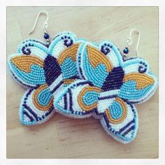 Butterfly beaded earrings Mama Longlegz (Summer Peters) for you my little Papillon Tribal Jewelry, Beaded Jewelry, Handmade Jewelry, Native Beadwork, Native American Beadwork, Beadwork Designs, Native Design, Beading Projects, Bead Earrings