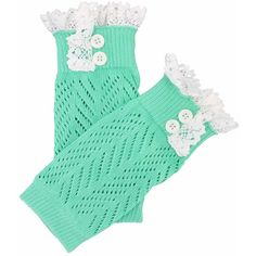 Mint Green Knit Boot Cuff Topper Liner Leg Warmer With Lace Trim ($12) ❤ liked on Polyvore featuring intimates, hosiery, leg warmers, leg wear, mint green, knit leg warmers and boot cuff leg warmers
