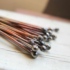 Rustic Copper Ball Headpins 18 ga - 20 Pieces -Handmade artisan wire jewelry supplies