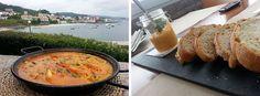 Arroz a la carta en la terraza y aperitivo de pastel de pescado en el Praia de Quenxe donde comer en corcubion