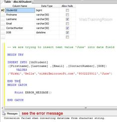 sql error message display Transact Sql, Insert Text, Sql Server, First Names, Improve Yourself, Told You So, Messages, Display, Writing