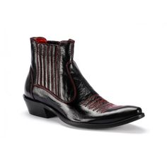 Černé pánské kožené kovbojky COMODO E SANO s červeným prošíváním - manozo.cz Chelsea Boots, Ankle, Model, Shoes, Fashion, Dark Around Eyes, Luxury, Moda, Zapatos