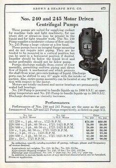Motor Driven Centrifugal Pumps Brown & Sharpe 1941 Ad Machine Tools Machinery