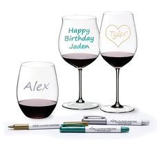 Guests might forget their wine glass charms, but they won't forget their name. After testing over 30 options with a chemist, Wine Glass Writer found an ink with bright colors, a smudge-free finish and hassle-free cleaning. These non-toxic glass writers are completely safe for contact with food and beverages. Wine Glass Writer can be used as a kitchen and party labeler; ceramic cheese plates, glass tasting flights, and canning jars all work wonderfully with our markers.