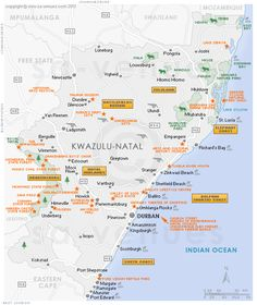 KwaZulu Natal attractions map showing the most popular attractions, destinations and sites of interest in KwaZulu Natal, South Africa . South Africa Map, Free State, Kwazulu Natal, Holiday Travel, Newcastle, Attraction, Holidays, Holidays Events, Holiday