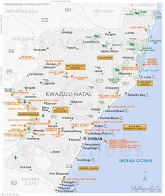 KwaZulu Natal Attractions Map