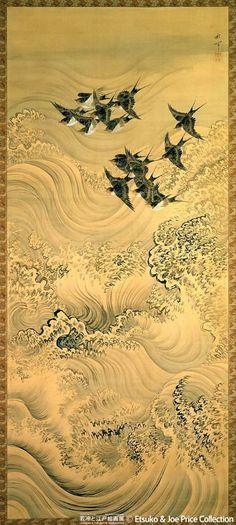 "iamjapanese: "" Shuki Okamoto(岡本秋暉 Japanese, 1807-1872)Harohien-zu 波浪飛燕図 """