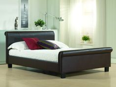 Aurora Leather Single Bed in Brown Colour