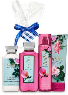 Hello Beautiful Gift Kit - Bath And Body Works Bath N Body Works, Bath And Body Works Perfume, Gift Baskets For Women, Ultra Shea Body Cream, Beautiful Perfume, Fragrance Mist, Hello Beautiful, Shower Gel, Body Lotion