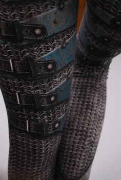 Armour Leggings - Printed Chainmail and Metal Tights - Made To Order - Armor plate look. $79.00, via Etsy.