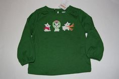 NWT Gymboree Cheery All The Way Green Shirt Girls 12-18 Months Free Shipping