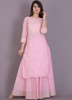 Baby pink kurta skirt set emblisshed with gota work.Buy Baby Pink Kurta Skirt Set for Women Online in India Designer Party Wear Dresses, Kurti Designs Party Wear, Indian Designer Outfits, Dress Indian Style, Indian Dresses, Indian Outfits, Indian Wear, Sleeves Designs For Dresses, Dress Neck Designs