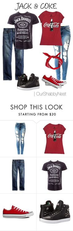 """""""Couples Costumes: Jack & Coke"""" by ourshabbynest ❤ liked on Polyvore featuring Lucky Brand, Converse, Philipp Plein, Boohoo, Halloween, couples and costumes"""