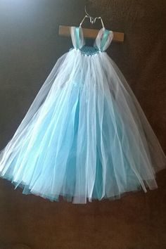 Girls Frozen Inspired Long Elsa Tutu Dress with by OwletBoutique