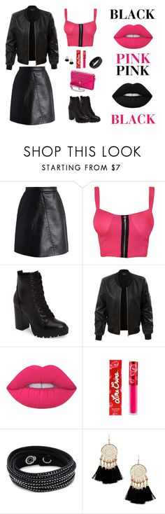 """""""Black Pink"""" by quianlie on Polyvore featuring Chicwish, WearAll, Steve Madden, LE3NO, Lime Crime, Swarovski and Forever 21"""