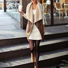 Coffee Leather Drape Vest ZARA faux-leather coffee brown drape vest with cream/beige fleece (faux wool) lining. Size 8/10/12 in UK (Size 6/8/10 aka Medium in the US). Bought in London. New. Please send reasonable offers through offer button! Zara Jackets & Coats Vests