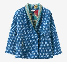 Warm cotton bed jacket with a top layer of ikat kantha stitched to an inner layer of recycled sari cloth. Two in-seam pockets. Each jacket is unique, varying in pattern and colour. Small ties to fasten. Clothes Crafts, Sewing Clothes, Quilted Clothes, Fancy Tops, Tailored Jacket, Colourful Outfits, Girly Outfits, Trendy Outfits, Jacket Pattern