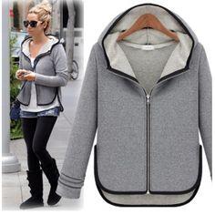 Fashion Turndown Collar Long Sleeve Zipper Regular Coat