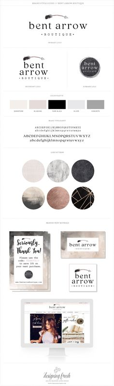 Rustic boho vintage style logo and branding for Bent Arrow Boutique! We love the mix of soft watercolor and boho chic. The color palette is a gorgeous mix of nude, black and greys a perfect combination.