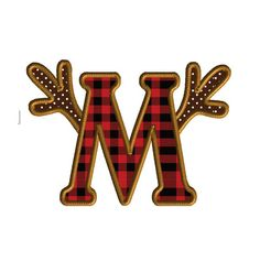 Antler Letter M Embroidery Design Deer Season by Calliescrossing