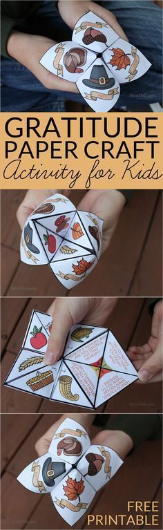 Help children practice thankfulness with this gratitude activity for kids. This easy Thanksgiving craft is a free printable Thanksgiving Cootie Catcher. Learn how to fold a cootie catcher / paper fortune teller. (fall crafts for kids printable) Thanksgiving Activities For Kids, Thanksgiving Crafts For Kids, Holiday Activities, Thanksgiving Decorations, Holiday Crafts, Kids Crafts, Holiday Fun, Holiday Parties, Harvest Crafts For Kids