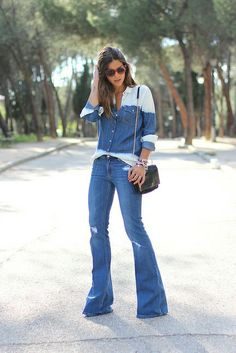 trendy_taste-look-outfit-street_style-ootd-blog-blogger-moda_españa-fashion_spain-hilfiger_denim-denim_total_look-vaqueros_campana-degradado...