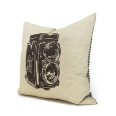 Decorative pillow for couch, Old Camera, 16x16 pillow cover - Brown antique camera print on natural beige canvas and houndstooth back. $34.00, via Etsy.
