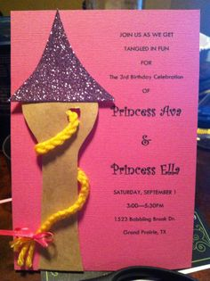 Custom Rapunzel Birthday Invitations All Things Couture