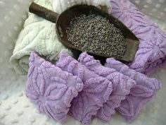 Set of FOUR Lavender Sachet's with Vintage Chenille 2 by TWFaith, $15.00