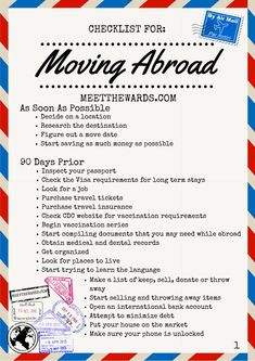 Are you considering moving overseas but don't know where to start? Here is the ultimate checklist to help you get started with your international move! Moving abroad has never been easier. Moving To Italy, Moving To The Uk, Moving To Canada, Moving To New Zealand, Moving To England, Moving Checklist, Moving Tips, Travel Checklist, Travel Essentials