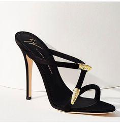 "Giuseppe Zanotti ""Aleesha"" serpentine black-satin open-toe high-heeled mule with crystal-embellished gold-tone snake-like accents | 2017"