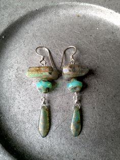 Ancient Oceans Aquamarine Gemstone Earrings by MermaidenCreations, $40.00