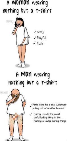 Woman Wearing Nothing Vs A Man Wearing Nothing #sotrue