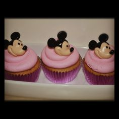 Mickey Mouse Trilogy of strawberry cupcake sweets.