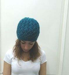 Hand knitted TEAL SLOUCHY BEANIE Hat by MARYsworks on Etsy, $35.00