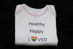 Baby Shower Gift // Onesie // Healthy Happy LOVED by MadeBy2Moms, $11.75