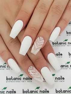 There are three kinds of fake nails which all come from the family of plastics. Acrylic nails are a liquid and powder mix. They are mixed in front of you and then they are brushed onto your nails and shaped. These nails are air dried. Cute Acrylic Nails, Acrylic Nail Designs, Nail Art Designs, Nails Design, White Nail Designs, White Nails With Design, Acrylic Nails For Summer Coffin, Gorgeous Nails, Love Nails