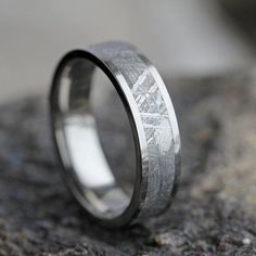 Gibeon Meteorite Wedding Band, Wedding Anniversary Ring, Titanium Ring For  Men Or Women