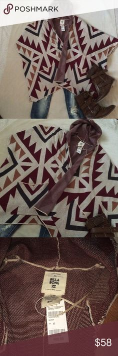 Billabong aztec hooded cardigan Throw this new sweater over your clothes on a chilly night.  Poncho style with out sleeves.  Super cute and Excellent condition Billabong Sweaters Cardigans
