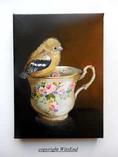 Bird Teacup painting original still life Goldfinch by 4WitsEnd, via Etsy