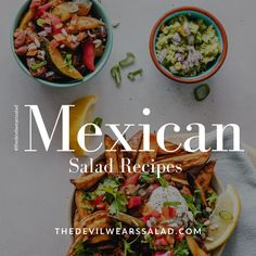 A great collection of Mexican salad recipes for all your entertaining Mexican Salad Recipes, Mexican Salads, Mexican Cooking, Menu, Entertaining, Ethnic Recipes, Collection, Food, Kitchens